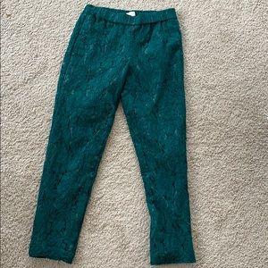 J. Crew Teal Lace Pants